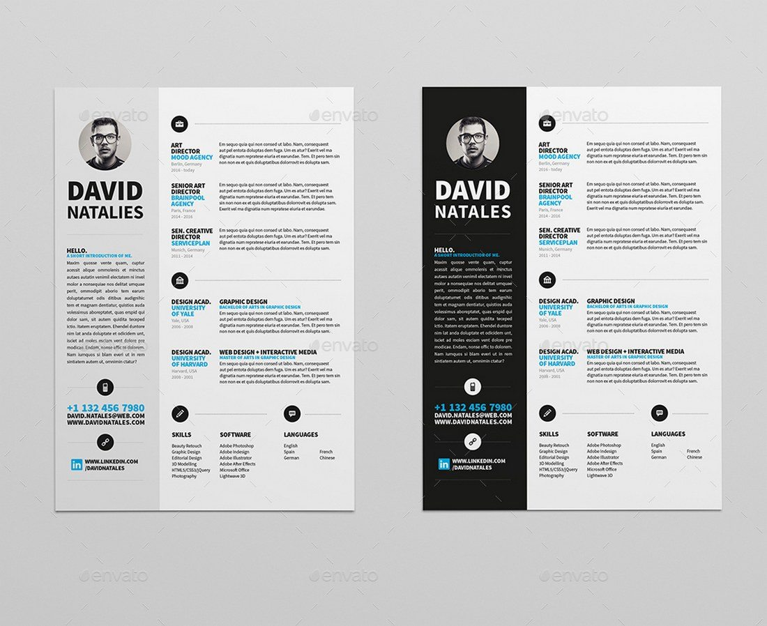 2 Page Resume Template from designshack.net