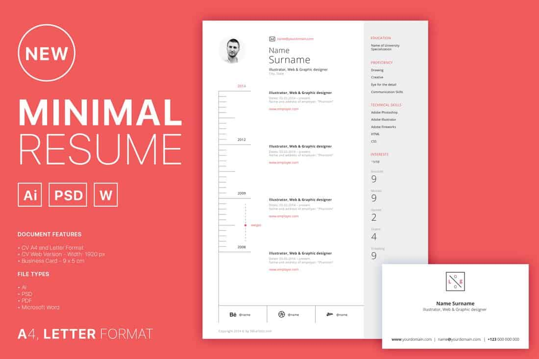 Minimal Resume Template (PSD & Word)
