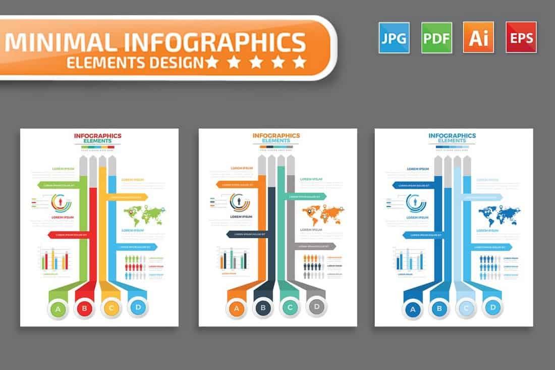 Modèles d'infographie de la timeline minimale