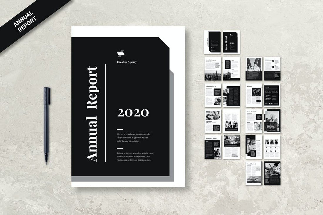 Minimalist Annual Report Template for InDesign