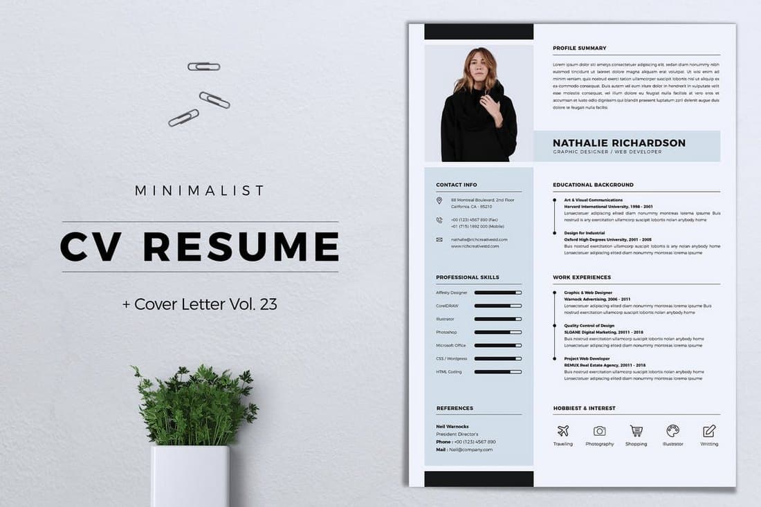 Minimalist-CV-Resume-Template 50+ Best CV & Resume Templates 2020 design tips