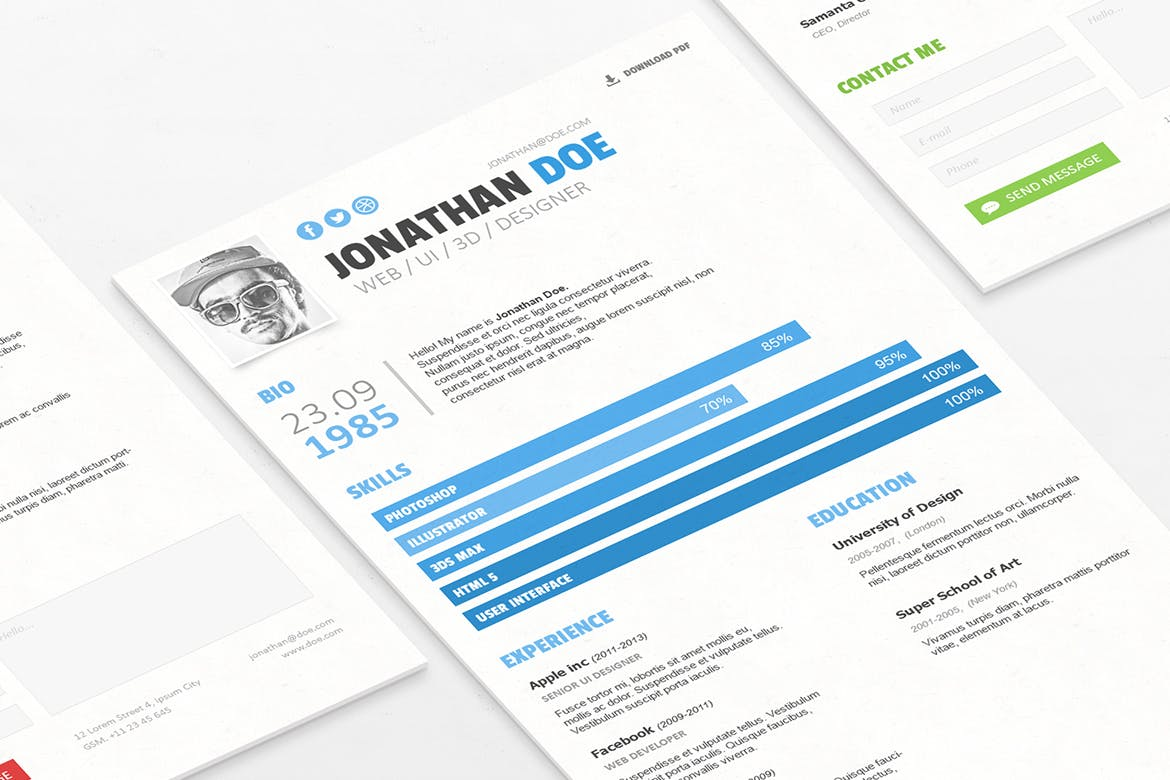 A Resume That Features Mix Of Both Modern And Minimalist Design This Template Comes As PSD File For Easier Editing With Photoshop