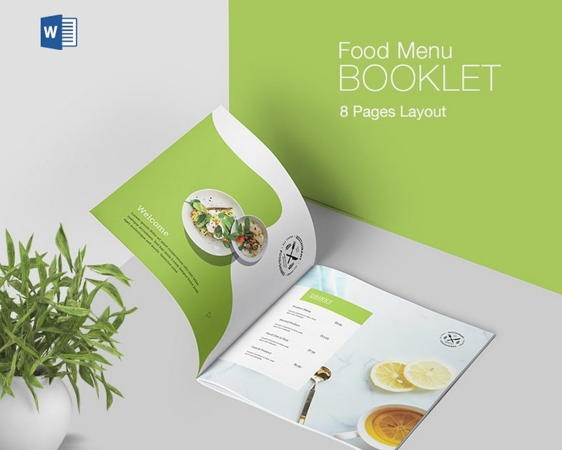 Minimalist Food Menu Booklet Word Template