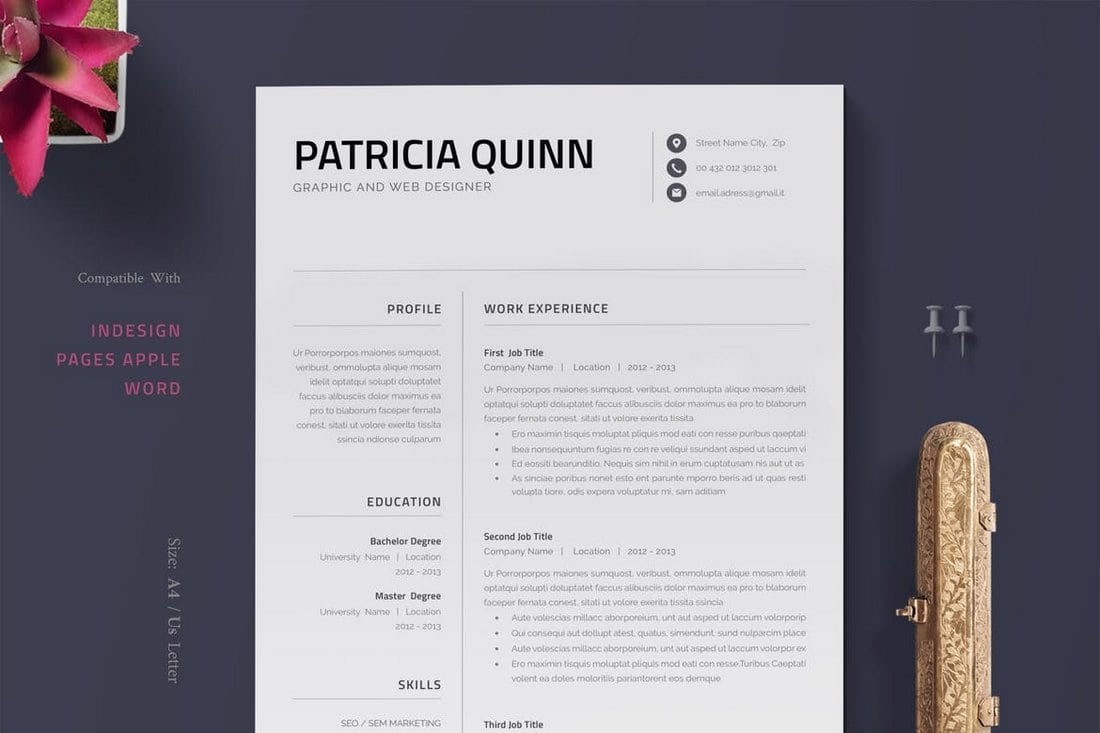 Minimalist Pages Resume Template