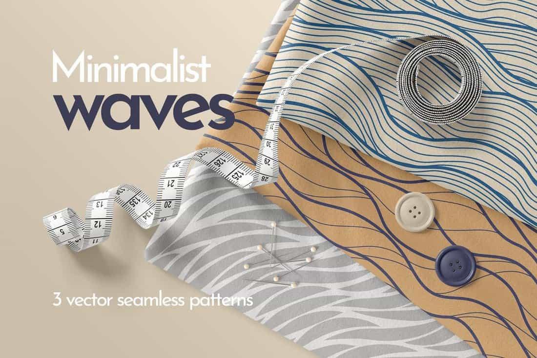 Minimalist Waves Seamless Patterns