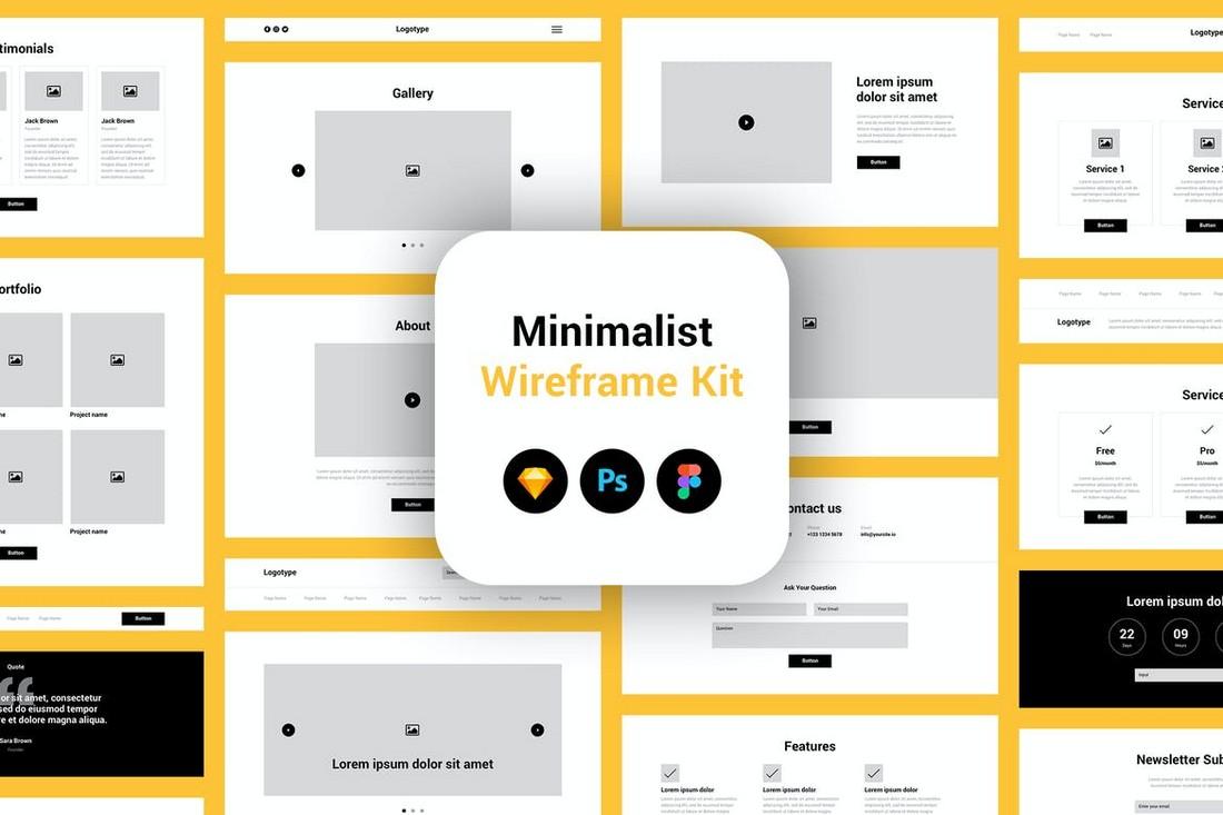 Minimalist Website Wireframe Kit - Sketch & PSD