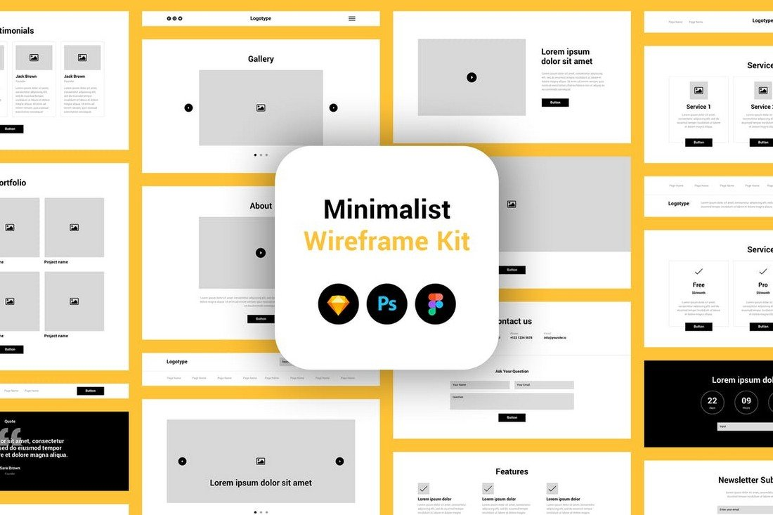 Minimalist Wireframe Kit Figma Templates