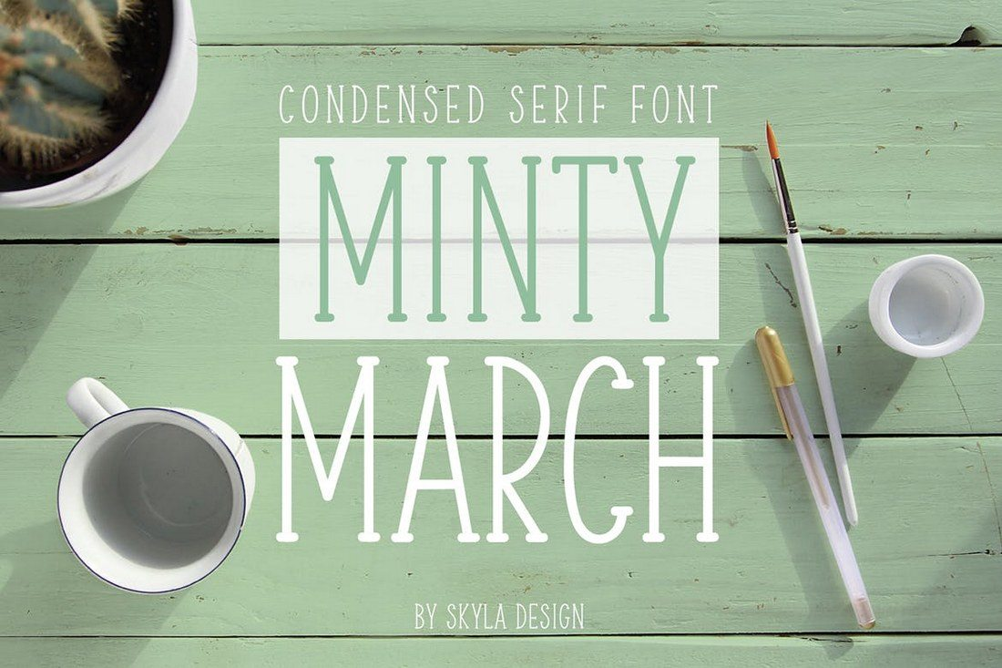Minty-March-Condensed-Serif-Font 100+ Best Modern Serif Fonts design tips