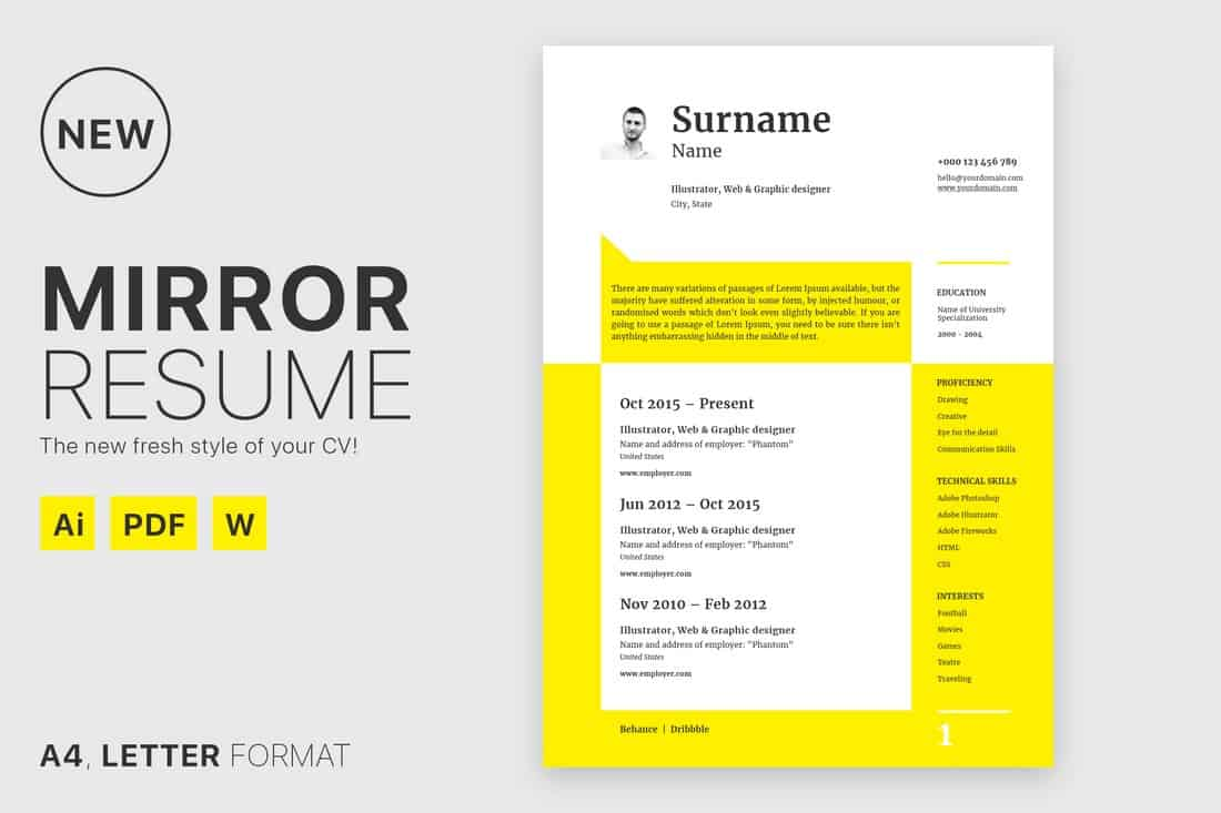 Mirror - Clean Free Resume Template