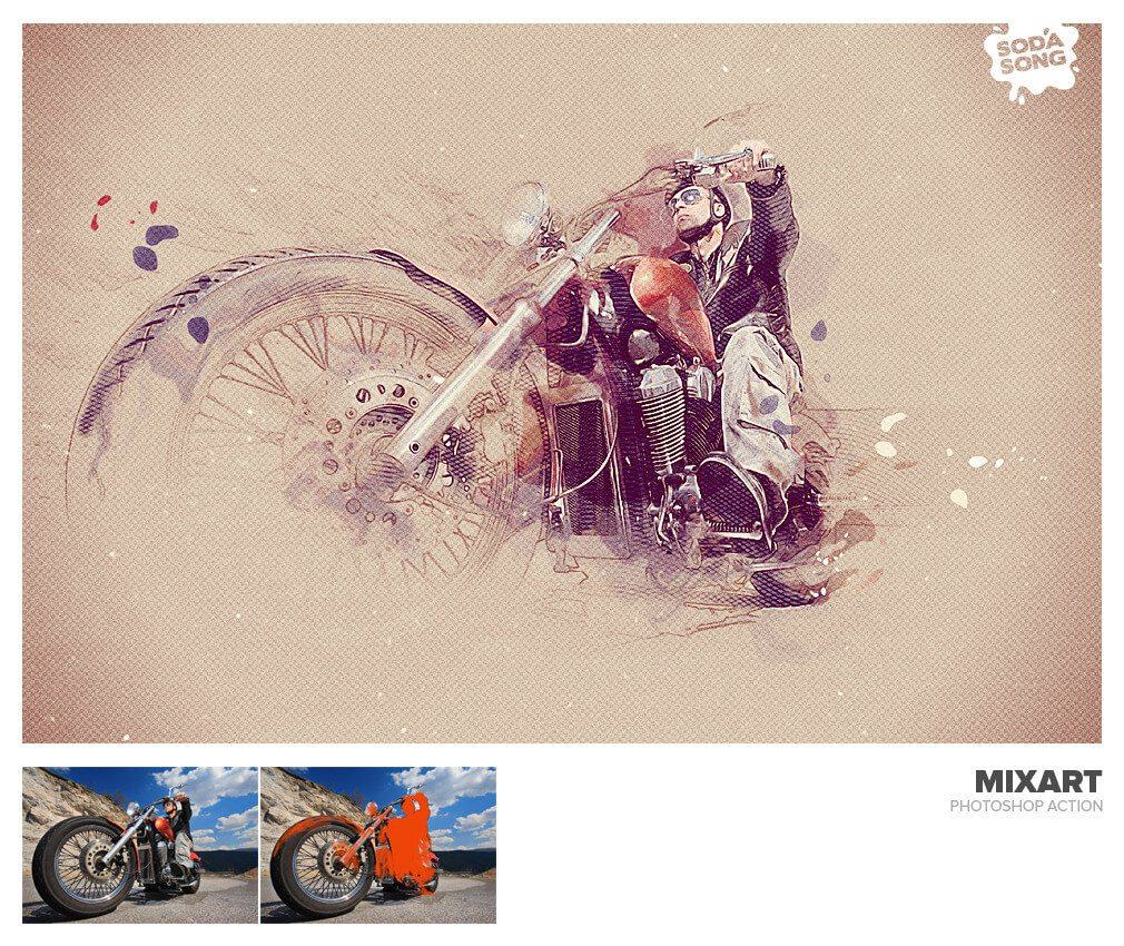 MixArt Sketch Photoshop Action by SodaSong GraphicRiver - Preview (14)