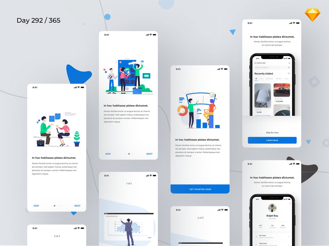 Mobile Onboarding Screens Sketch Templates