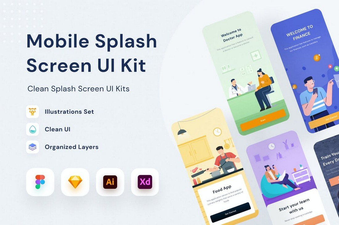 Mobile Splash Screen Sketch UI Kit