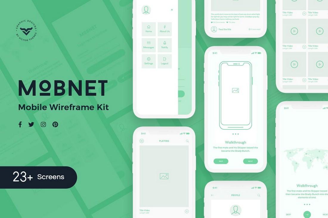 Mobnet - Mobile Wireframe Kit