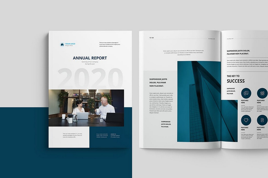 Modern-Annual-Report-Template-28-Pages 30+ Annual Report Templates (Word & InDesign) 2020 design tips  Inspiration|annual|report|template