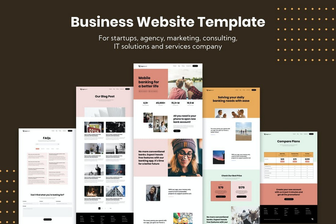 Modern Business Adobe XD Website Template