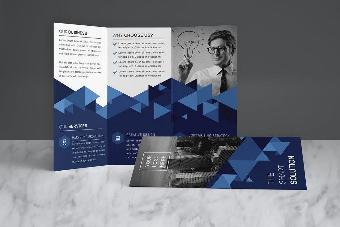 size of a tri fold brochure