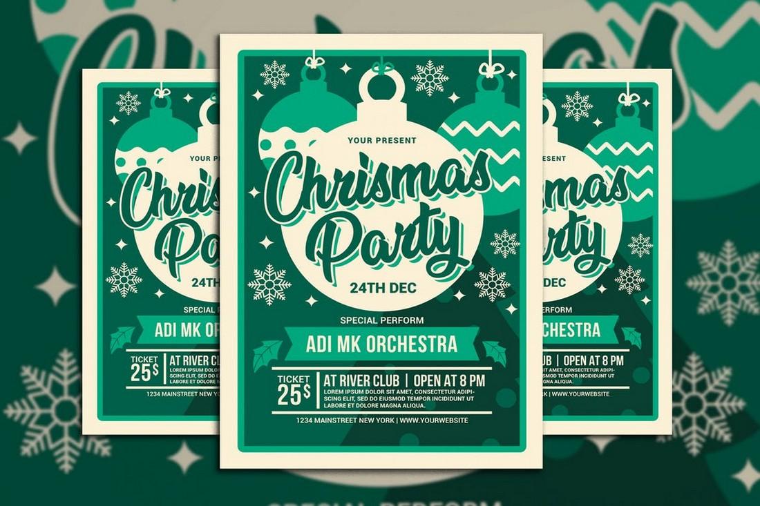 Modern Christmas Party Flyer Template PSD