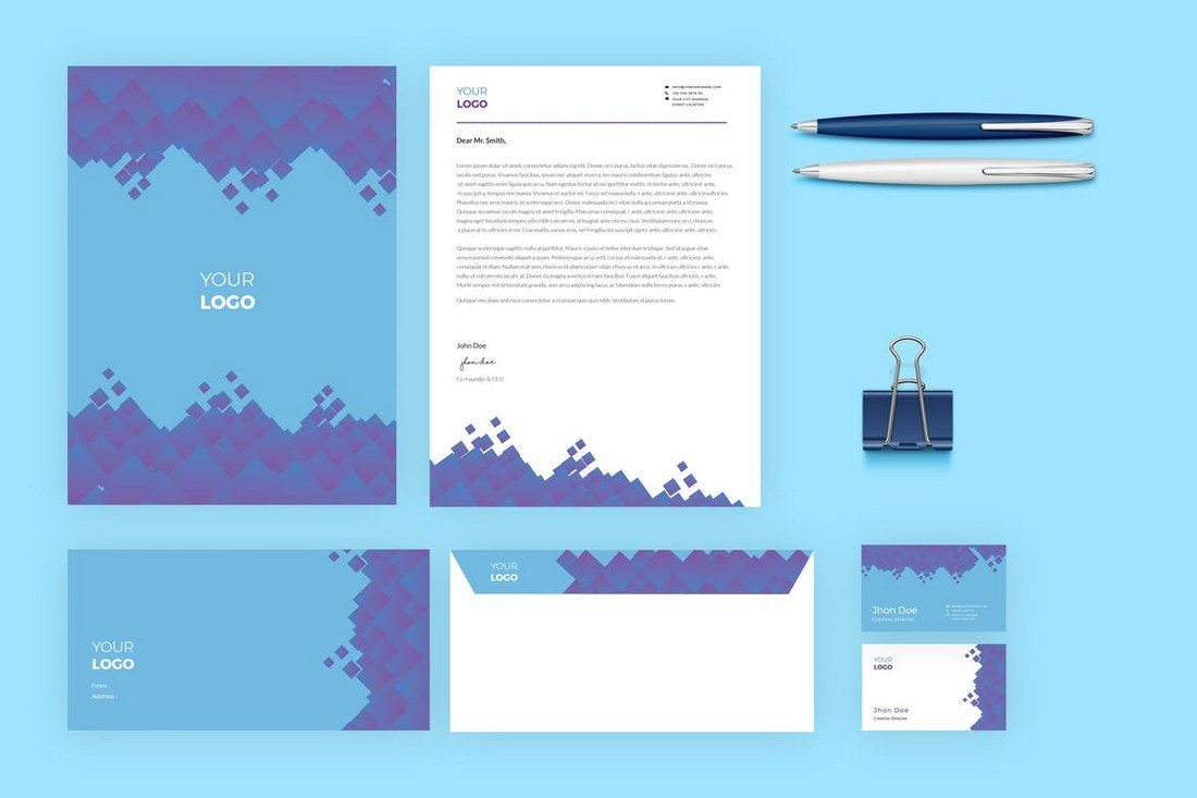 a complete set of stationery templates for creating a brand identity it includes a letterhead business card envelope and presentation folder templates