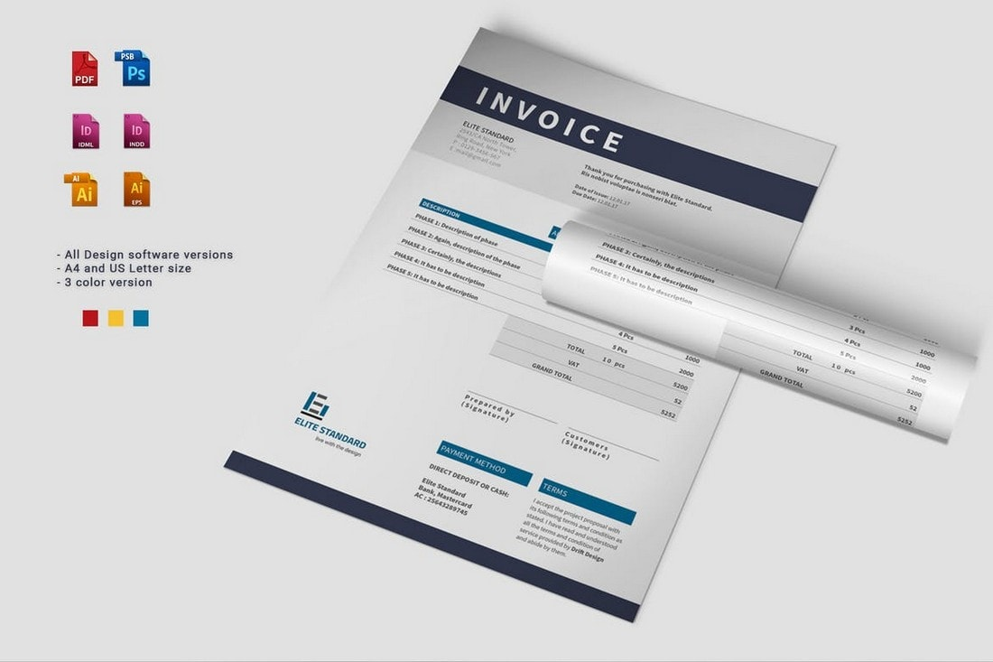 Modern-Invoice-Template-For-Illustrator-InDesign 20+ Best Invoice Templates for InDesign & Illustrator (Free + Premium) design tips  Inspiration