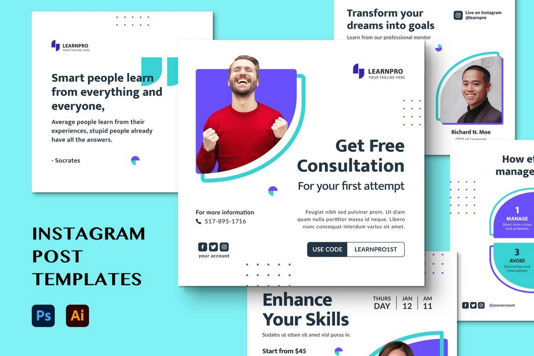 Modern Marketing Instagram Post Templates