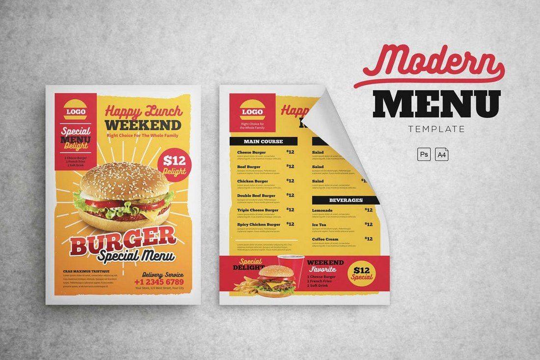 Modern-Menu-Fast-Food 50+ Best Food & Drink Menu Templates design tips
