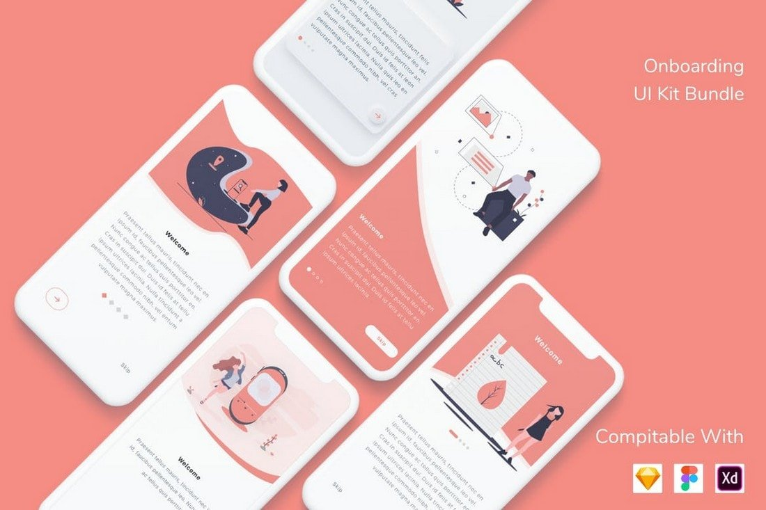 Modern-Mobile-App-Onboarding-UI-Kit 25+ Best Mobile App UI Design Examples + Templates design tips  Inspiration