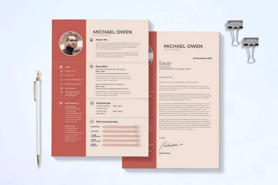 Modern-Resume-Cover-Letter-Template-1 50+ Best CV & Resume Templates 2020 design tips