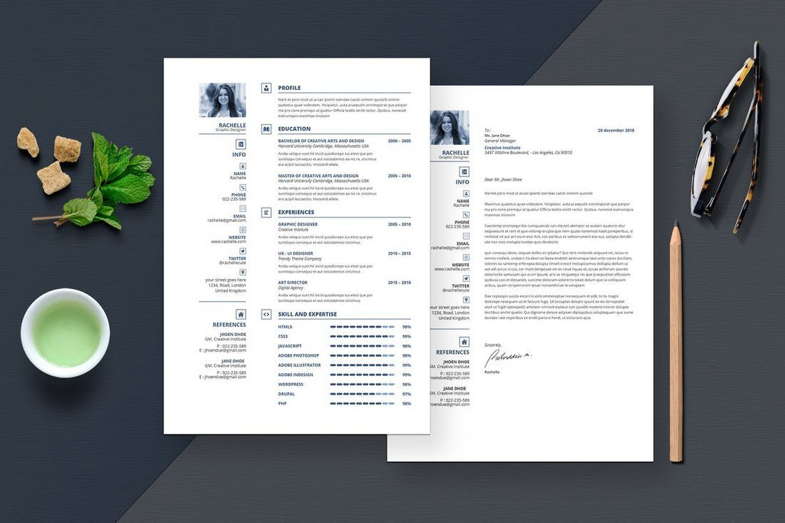 Modern-Resume-Cover-Letter-Template 50+ Best CV & Resume Templates 2020 design tips
