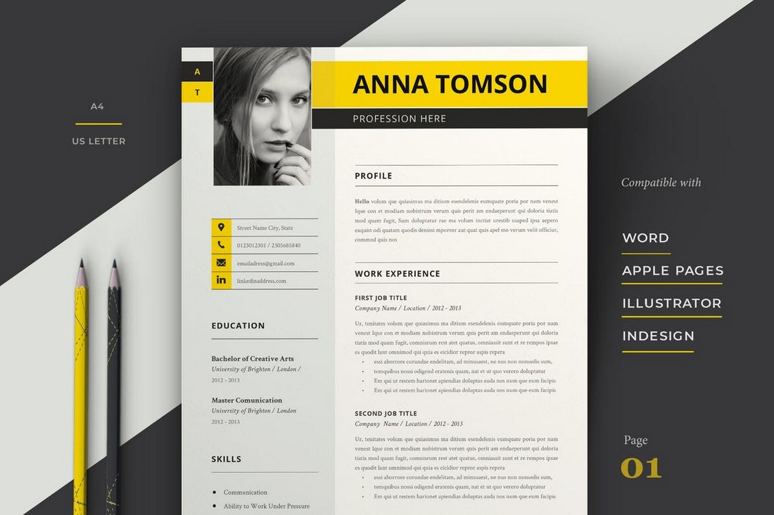Modern Resume Template for Apple Pages