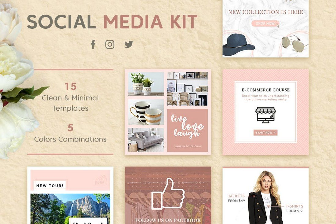 Modern-Social-Media-Kit 40+ Best Social Media Kit Templates & Graphics design tips  Inspiration|facebook|social media|twitter
