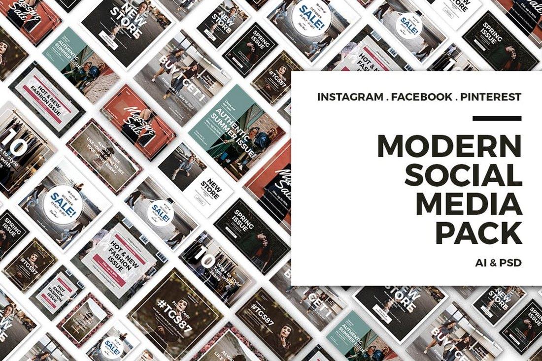 Modern-Social-Media-Post-Bundle-1 20+ Best Facebook Cover & Post Mockups design tips