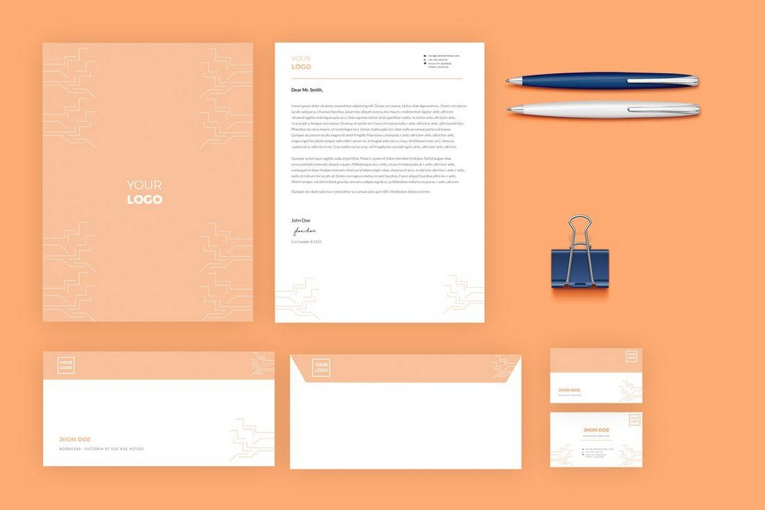 this pack of stationery templates features a colorful design that makes it perfect for a marketing agency or a creative business it includes a letterhead