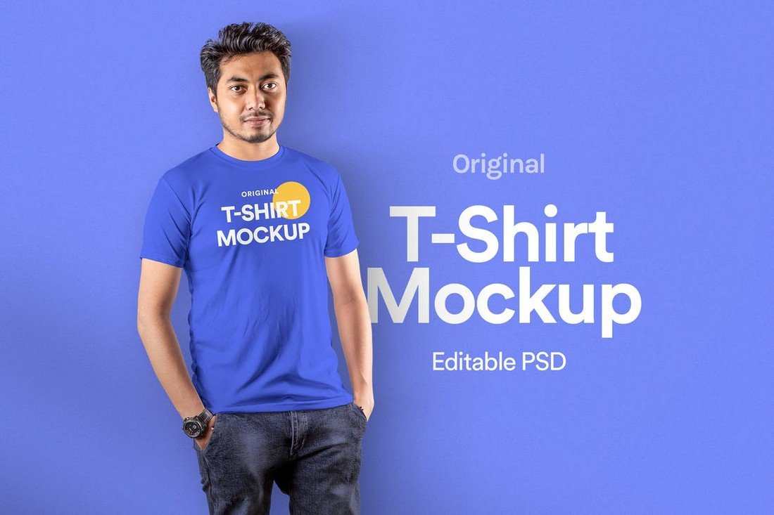 Modern T-Shirt Mockup with Male Model