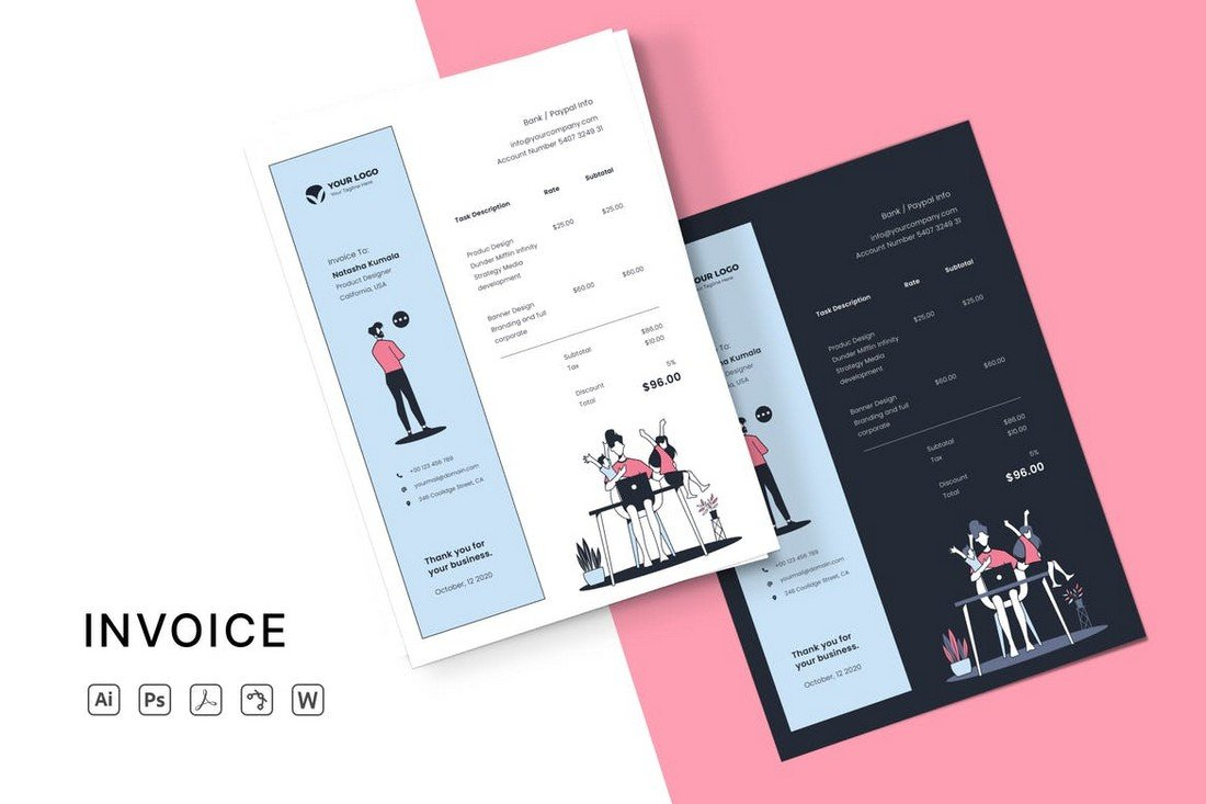 Modern Word Invoice Template