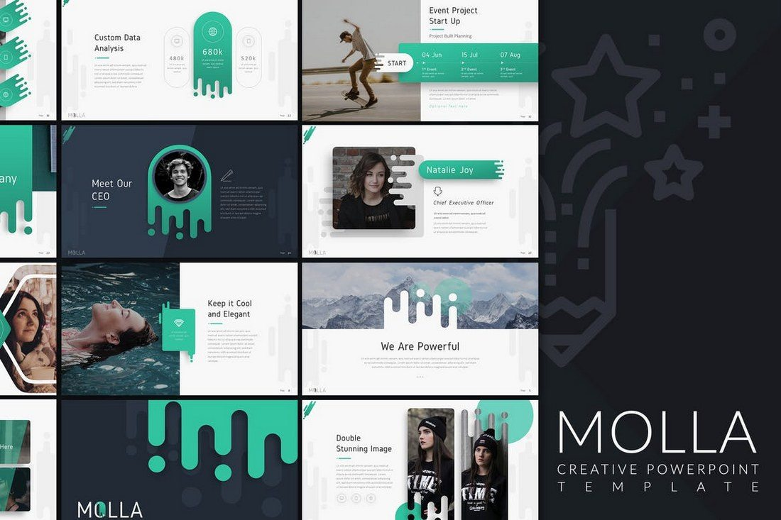 20 best powerpoint templates of 2018 design shack molla is a stunning powerpoint template that includes over 60 unique slides featuring a creative design you can also choose the slides from 20 different toneelgroepblik Choice Image