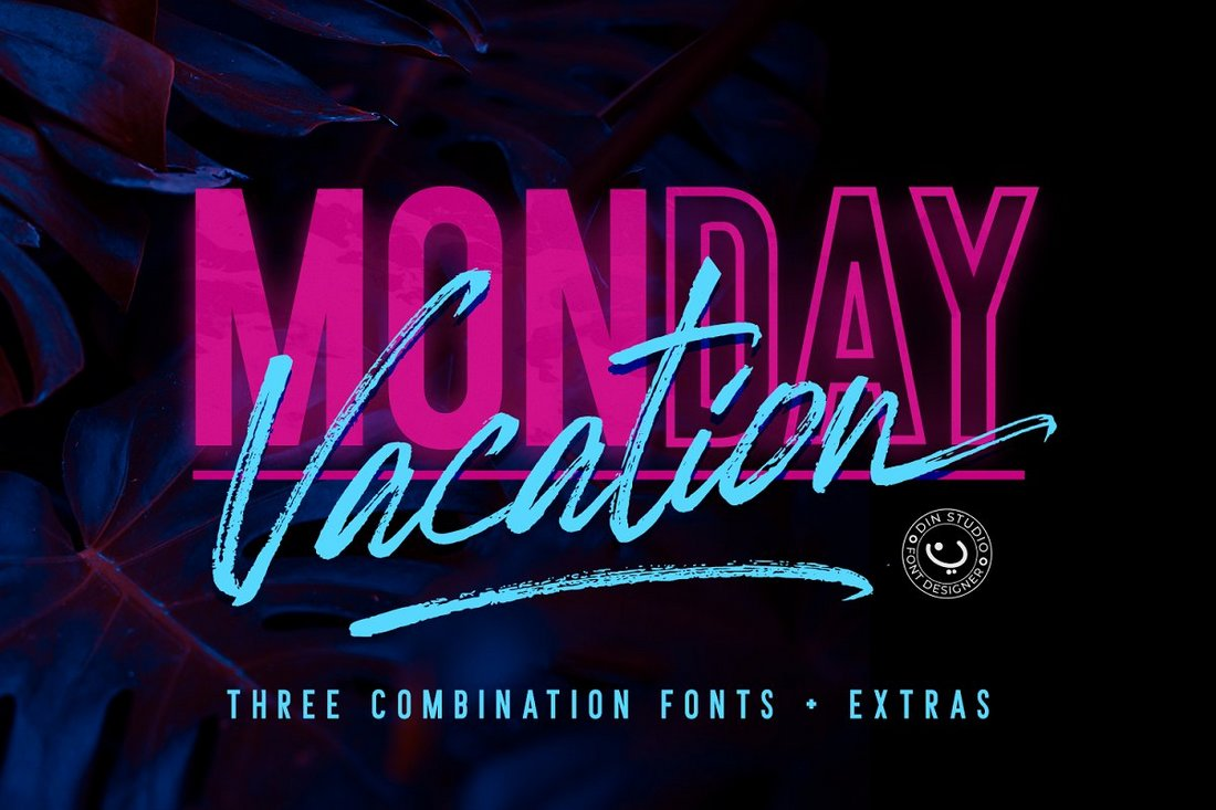Monday Vacation - Free Outline Font