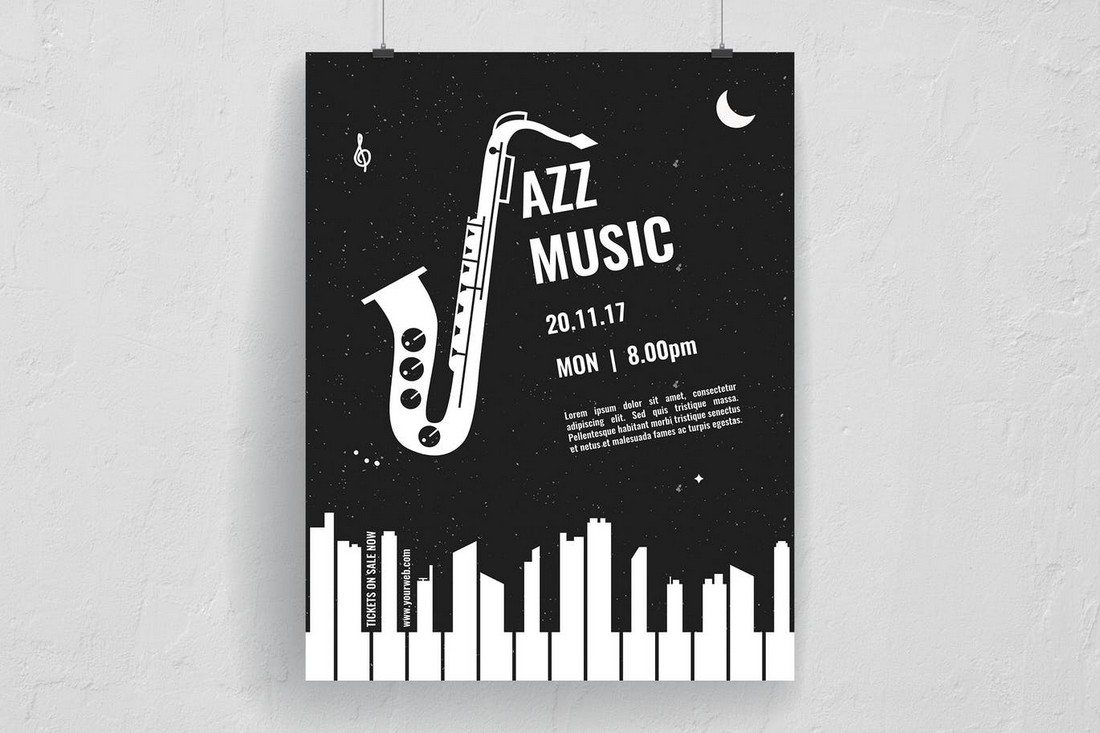 this minimalist and unique flyer design is truly one of a kind template with a brilliant approach to flyer design its designed specifically for a jazz