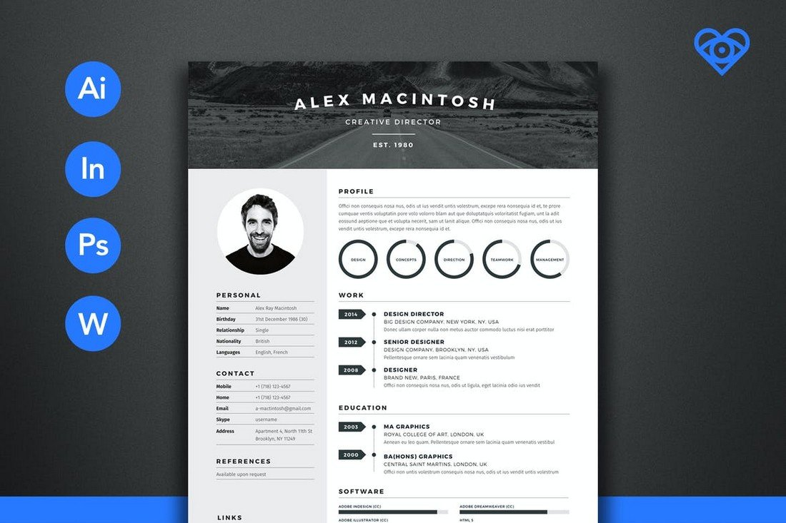 Mono - Word CV Template for Designers & Developers