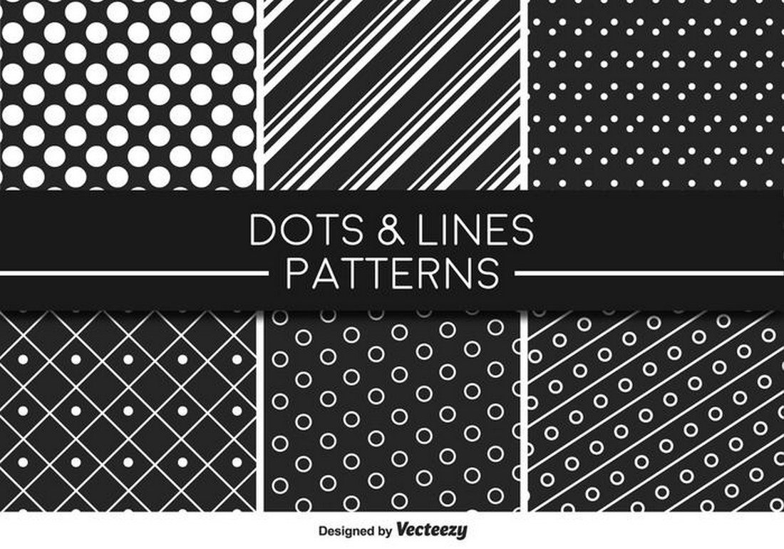 Monochromatic-Lines-And-Dots-Vector-Pattern 30+ Best Line Patterns & Textures design tips