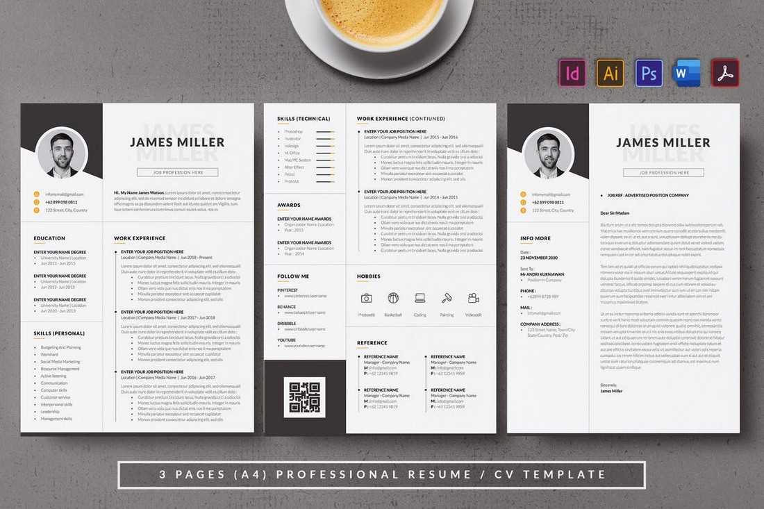 Monochrome-Minimal-Resume-Template 50+ Best CV & Resume Templates 2020 design tips