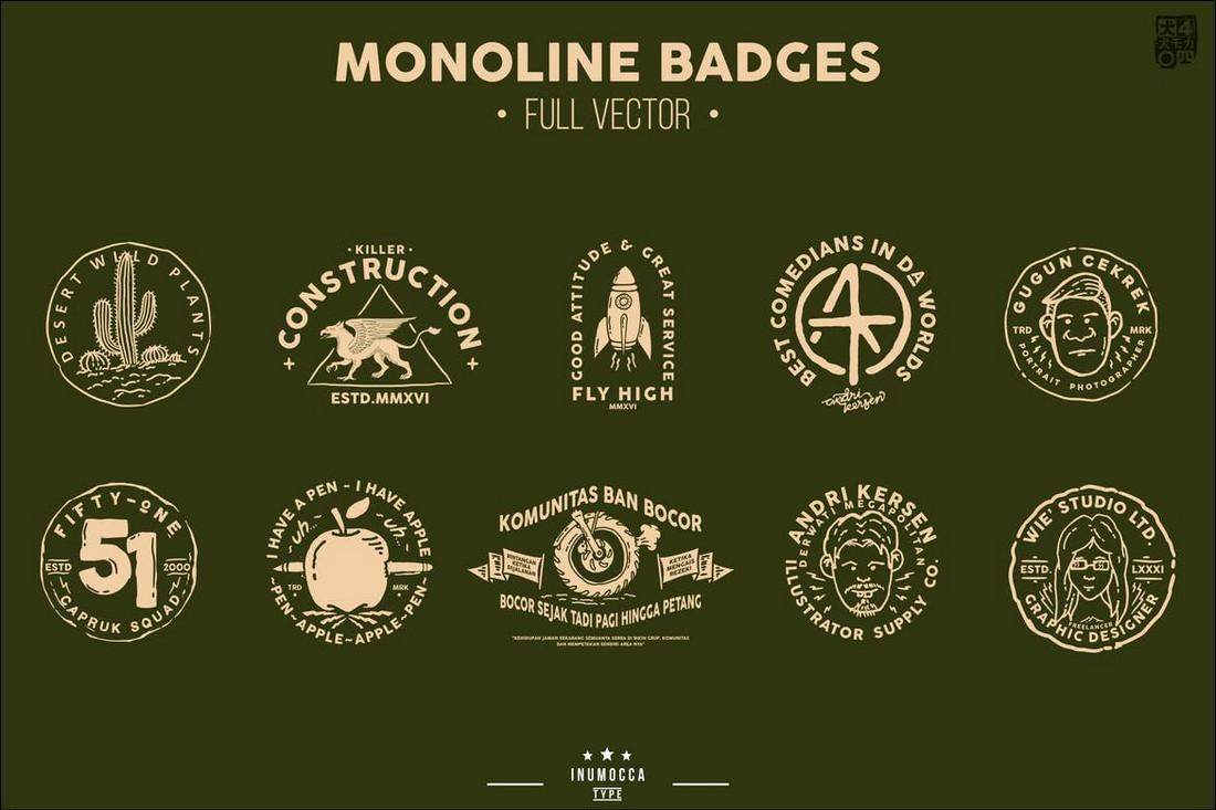 Monoline Vintage Badge Templates