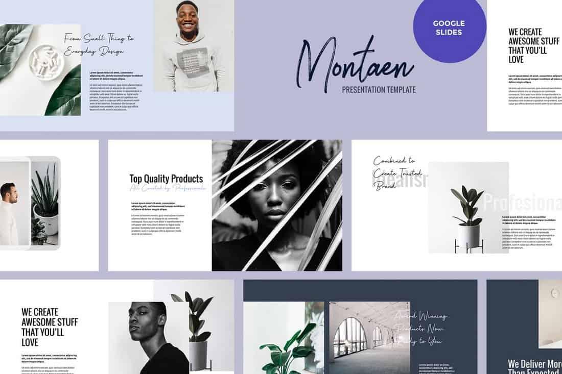 Montaen - Simple & Minimal Google Slides Template