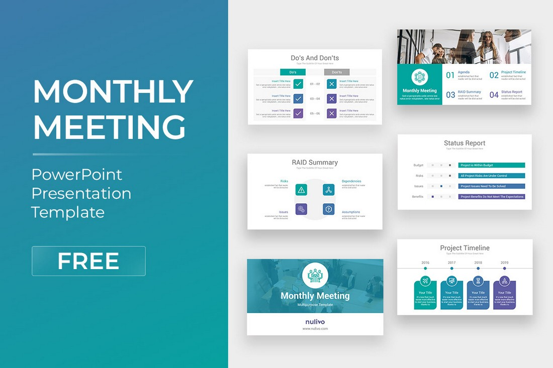 Monthly-Meeting-Free-PowerPoint-Template 20+ Best Webinar PowerPoint Templates (Remote Presentation PPT Slides) design tips