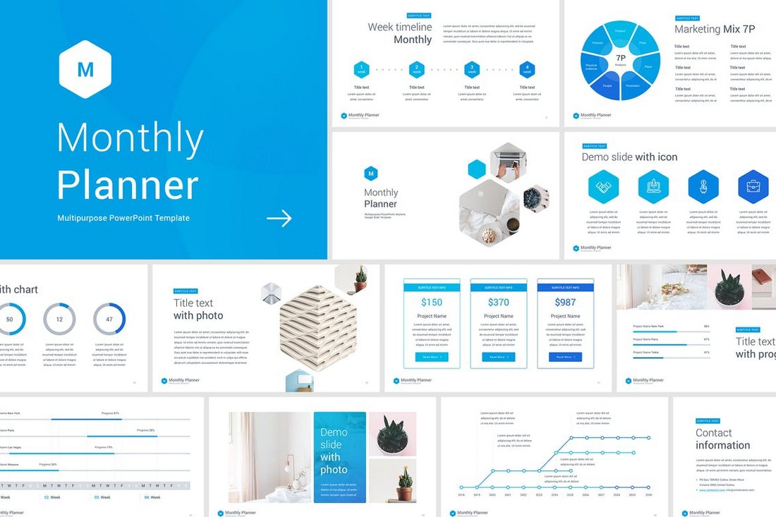 Monthly-Planner-PowerPoint-Template 30+ Animated PowerPoint Templates (Free + Premium) design tips