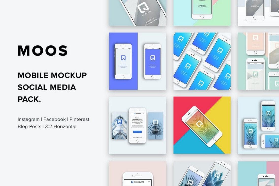 Moos - Mobile Social Media Mockup Pack