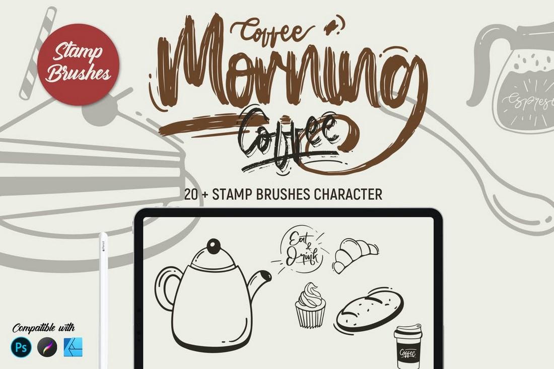 Morning Coffee Stamp Brushes for Affinity Designer