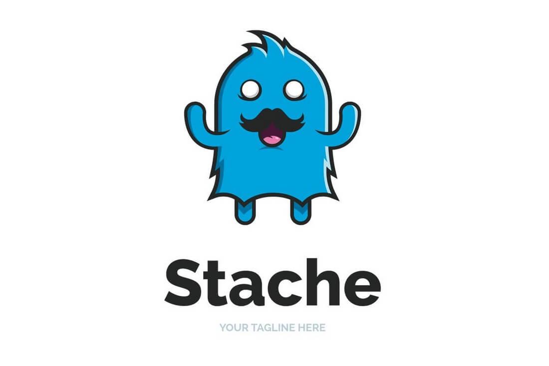 Moustache-Monster-Logo-Template 50+ Best Minimal Logo Design Templates design tips