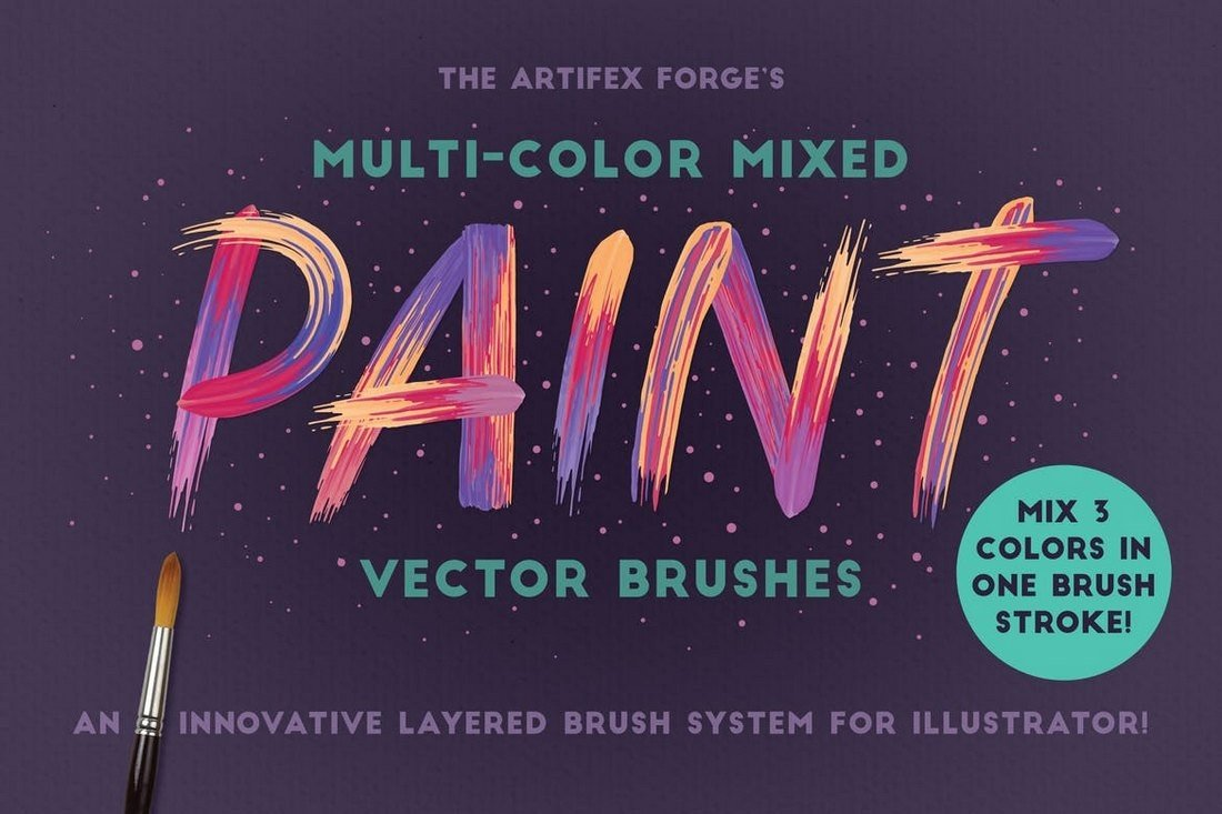 Multicolor Mixed Paint Brushes for Illustrator