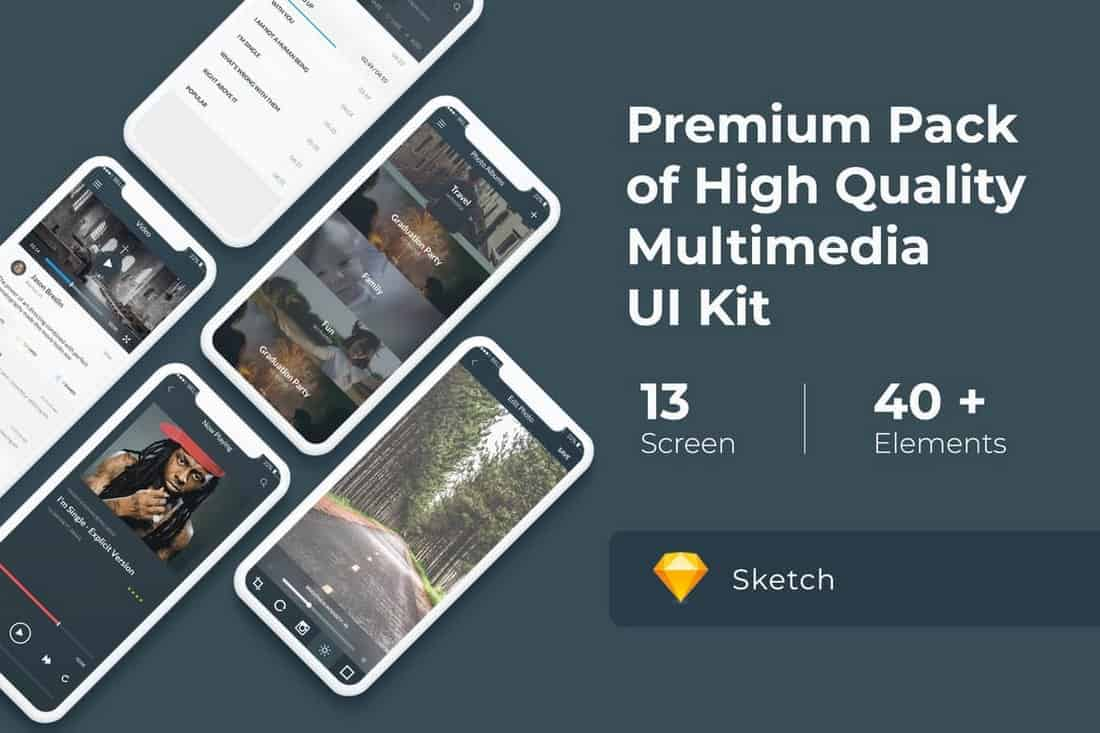Multimedia and Entertaintment UI KIT for Sketch