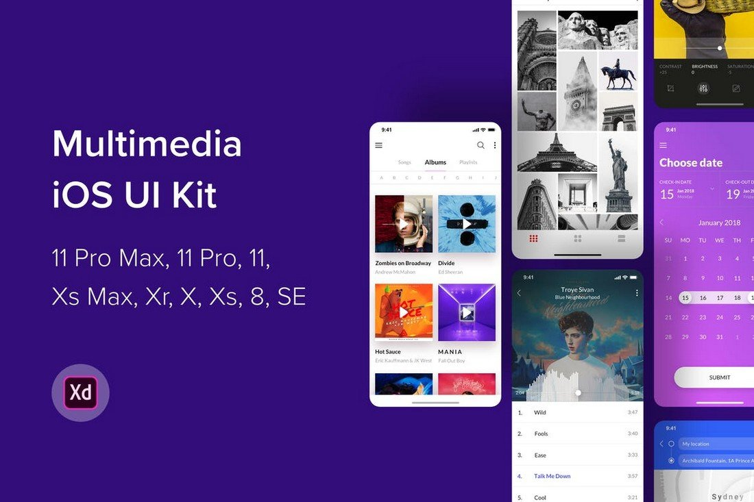 Multimedia iOS UI Kit for Adobe XD